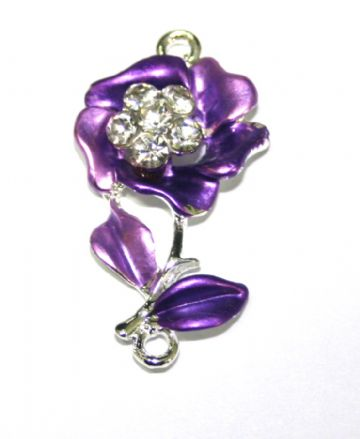 1pce x 34mm*19mm Purple flower with leaves connector -  enameled alloy charm with rhinestones